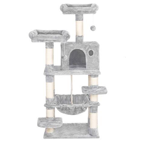 Yaheetech árbol para Gatos Rascador con Nidos Árbol Grande para Gatos Mascota Hamaca Plataforma 60,5 x 50,5 x 146,5 cm Gris Clara