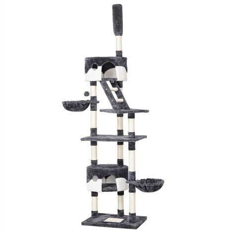Yaheetech Árbol para Gatos Rascador Escalera 228-255 cm Altura Ajustable Centro de Juego para Gatos Gris Blanco
