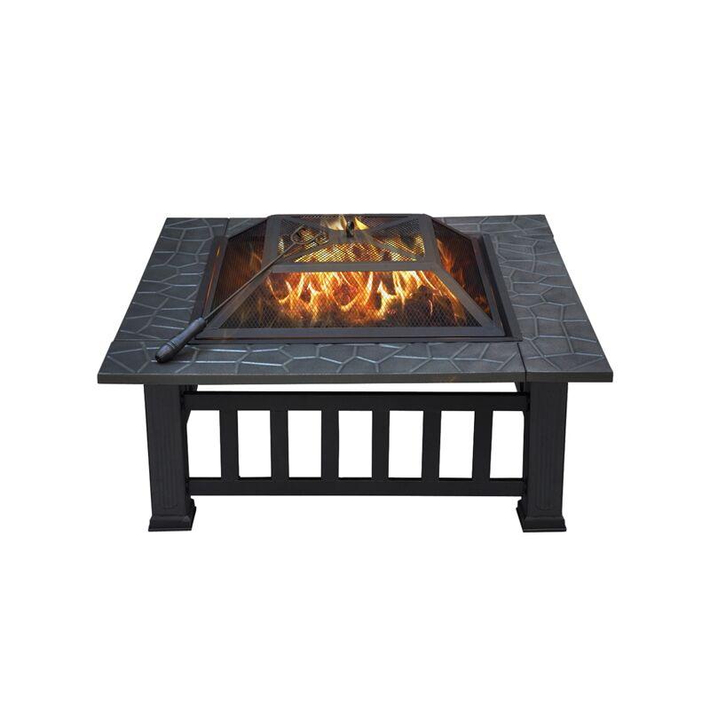 Foyer en Bol Ø 80 cm avec Grill Poêle et dessous de verre-Un Panier Brasero feu barbecue