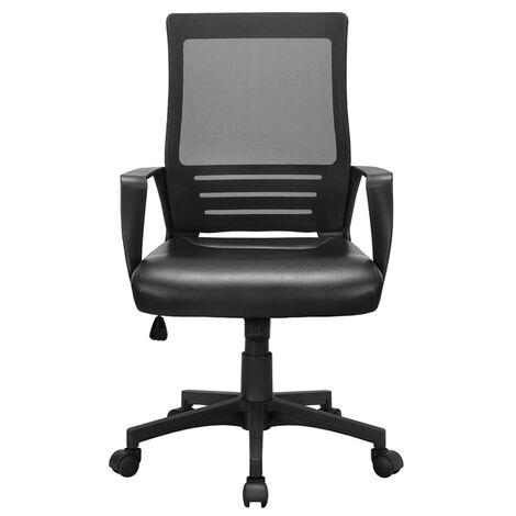 Yaheetech Bürostuhl ergonomischer Schreibtischstuhl Kunstleder Bürodrehstuhl höhenverstellbar Computerstuhl verstellbares Office Chair Drehstuhl mit Netzrückenlehne