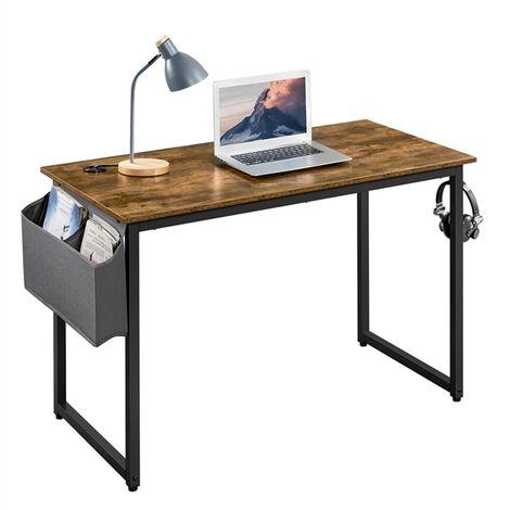 Yaheetech Bureau d'ordinateur Table informatique Table d'étude Bureau d'écriture Industriel avec Sac de Rangement et Crochet à Gauche ou à Droit pour Bureau Studio Salon, 120x60x75cm Marron Rustique