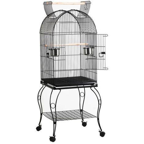 Yaheetech Cage à Oiseau avec Toit Ouvert Volière sur roulettes pour Canaries Perroquet Perruches et Calopsitte 59 x 59 x 150 cm Noir