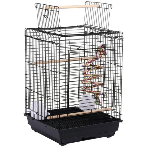 Yaheetech Cage à Oiseaux avec Corde de Jouet 40 x 40 x 58 cm Cage pour Perruche Canari Calopsitte Ouverture Supérieure