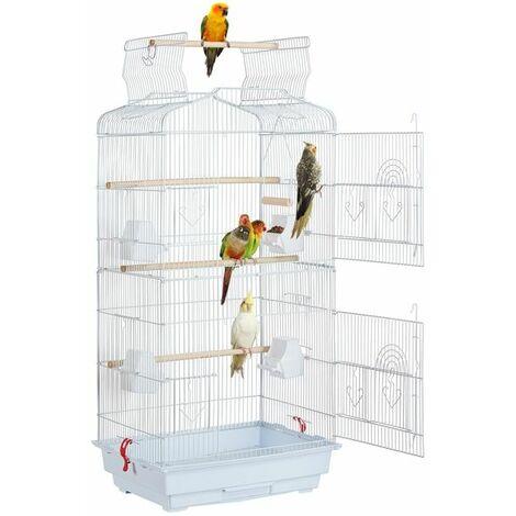Yaheetech Cage Oiseaux Volière pour Canaries Perruche Calopsitte 46 x 36 x 92 cm Blanc