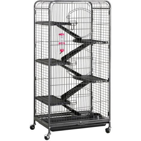 Yaheetech Cage pour Rongeurs Blanche 64 x 44 x 131 cm Cage pour Rats/Furets/écureuils/Chinchillas