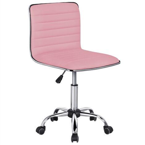 Yaheetech Chaise de Bureau à Dossier Bas Fauteuil de Travail à Roulettes, Chaise pour Ordinateur, Assise Réglable, Sans Accoudoir, Max.120 kg, 48,5 x 48,5 x 78,5-93 cm