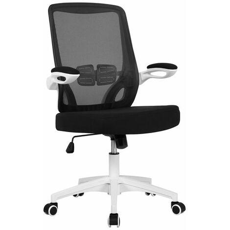 Yaheetech Chaise de Bureau Ergonomique à Roulettes Fauteuil pour Ordinateur Inclinable avec Accoudoirs Pliables Tissu en Maille Hauteur Réglable