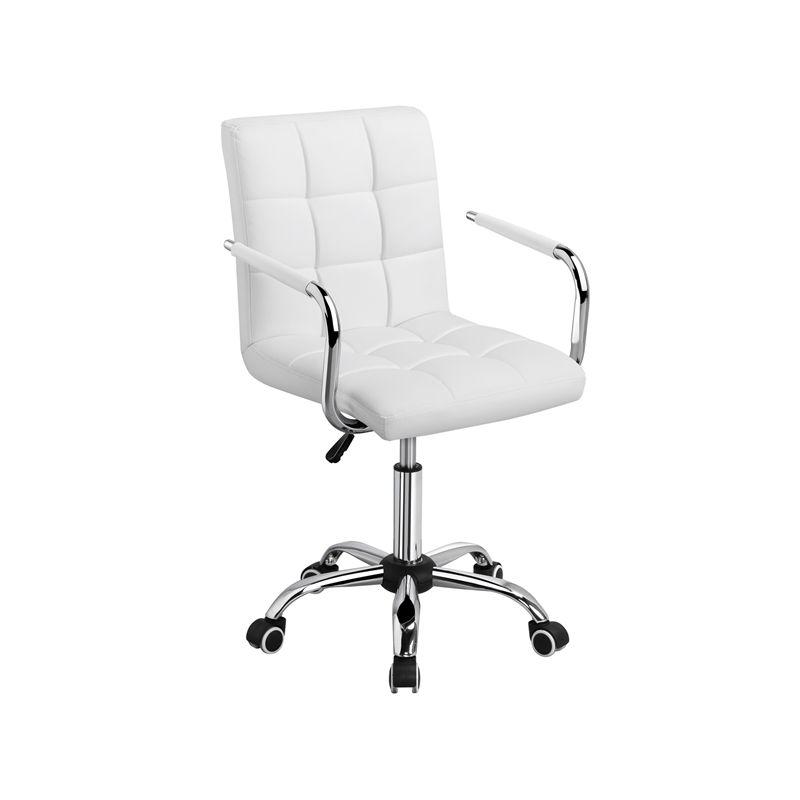 Yaheetech Chaise de Bureau Fauteuil pour Chambre Siège à roulettes Pivotant Réglable Capacité Max.120kg avec Dossier Accoudoir Blanche