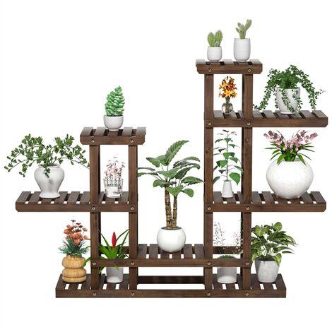 Yaheetech Estante de Plantas de Flores Soporte Bastidor de Madera para Macetas Estantería de Jardín Balcón Decorativas Estética de 6 Niveles