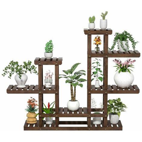 """main image of """"Yaheetech Etagère à Fleurs Support Porte Pot de Plantes en Bois 8 Tablettes 6 Niveaux Présentoire Polyvalent Balcon/Maison/Bureau/Terrasse Marron Rustique 120,5 x 25 x 96,5cm"""""""
