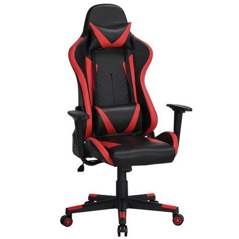 Yaheetech Gaming Stuhl Bürostuhl Schreibtischstuhl Kunstleder Gamer Stuhl Sportsitz Höhenverstellbarer Chefsessel stufenlos verstellbare Rückenlehne Einteiliger Stahlrahmen