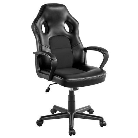 Yaheetech Gaming Stuhl Schreibtischstuhl Chefsessel Bürostuhl Ergonomisch, gepolsterte Armlehnen, Wippfunktion, belastbar bis 150 kg, fürs Büro, Arbeitszimmer