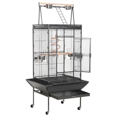 Yaheetech Grande Cage Oiseaux Perroquet Métal 4 Roulettes Mobiles Zone Jeu Supérieur Perruche Mandarin Amazones Gris Afrique