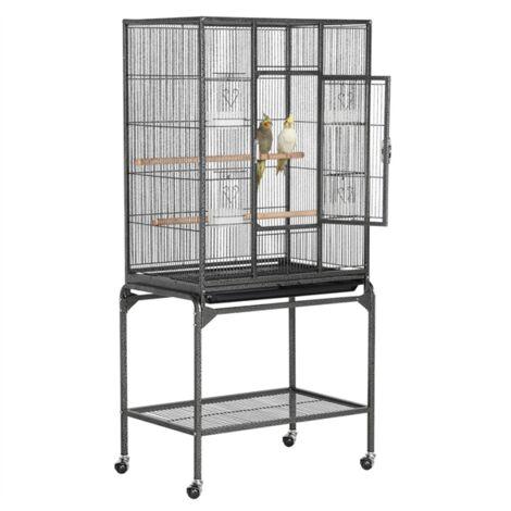Yaheetech Grande Cage/Volière Oiseaux avec Support Détable à roulettes Cage pour Perroquet Gris du Gabon Canaris Parakeet Calopsitte élégante Pinson 65,5 x 42,5 x 136,5 cm