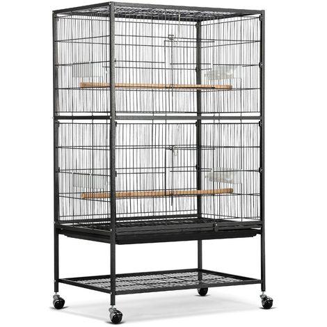 """main image of """"Yaheetech Grande Volière Cage Oiseaux sur roulettes Canaries Perroquet Perruches Cacatoès Ara 2 Étages avec Support 79 x 52 x 132 cm"""""""