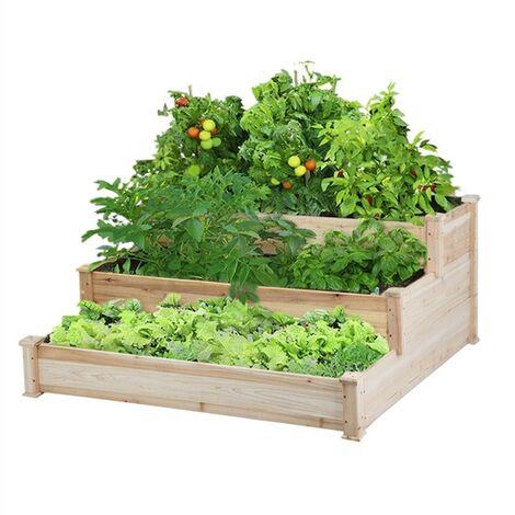 Yaheetech Jardinera Madera de 3 Pisos Macetero Huerto Urbano para Jardín Estantería para Cultivar Plantas 120 x 120 x 56 cm