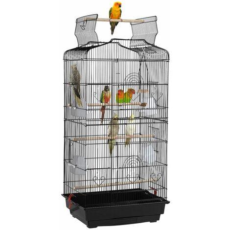 Yaheetech Jaula para Pájaros 46 x 36 x 92 cm para Agapornis Aves Loros Canarios Pajarera Metálica para Mascota