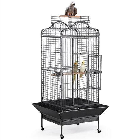 Yaheetech Jaula para Pájaros con Techo Abierto Pajarera Jaula Grande con Ruedas Soportes Zócalos Jaula Metálica Barrotes Horizontales 81 x 77 x 160 cm