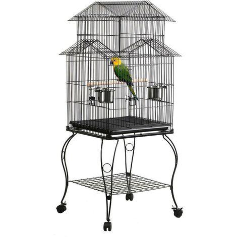 Yaheetech Jaula para Pájaros Jaula con Ruedas Soporte Comedero 59 x 59 x 139,5 cm