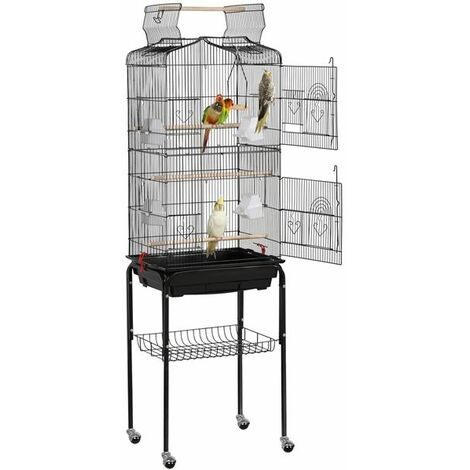 Yaheetech Jaula para Pájaros con Soporte 46 x 35,5 x 158 cm Pajarera de Aves Agapornis Canarios