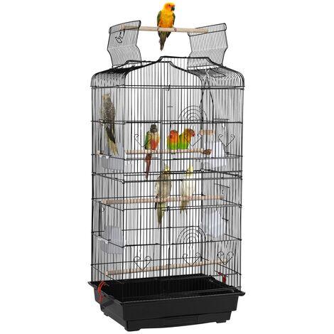 Yaheetech Jaula para Pájaros Pajarera con Bandeja Loros Agapornis Canarios 46 x 36 x 92 cm