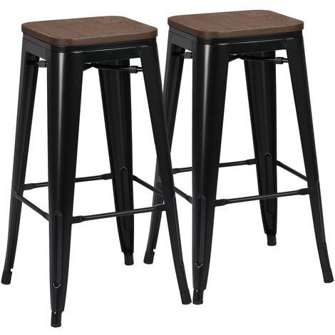 Yaheetech Lot de 2 Tabouret Bar Industriel Design Chaise Haute de Bar 76,5 cm Metal et Bois 150 kg pour Cuisine Bistrot Salle à Manger Intérieur et Extérieur