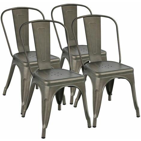 Yaheetech Lot de 4 Chaise de Salle à Manger Industrielle Tabouret de Cuisine 45 cm de Hauteur Empilable Metallique avec Dossier Jardin Bistrot Café Salon