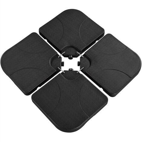 Yaheetech Lot de 4 Dalles carrées de Parasol Lestage Pieds Base pour Parasol déporté avec Poignée 50 × 50 × 7,5 cm Noir