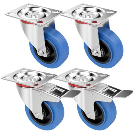 Yaheetech Lot de 4 Roulettes Pivotantes 100mm pour Meuble Roues en Caoutchouc avec Frein sans Bruit Capacité 180kg pour Cabinet - Chariots Transport - Garage - Atelier - Maison Bleu