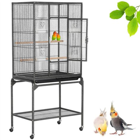 Yaheetech Mobile Large Parrot Cage w/Stand Bird Cage for Conures Parakeets Cockatiels, Pet Cage for Small Animal, Large Rolling Metal Pet Cage with Detachable Stand Black