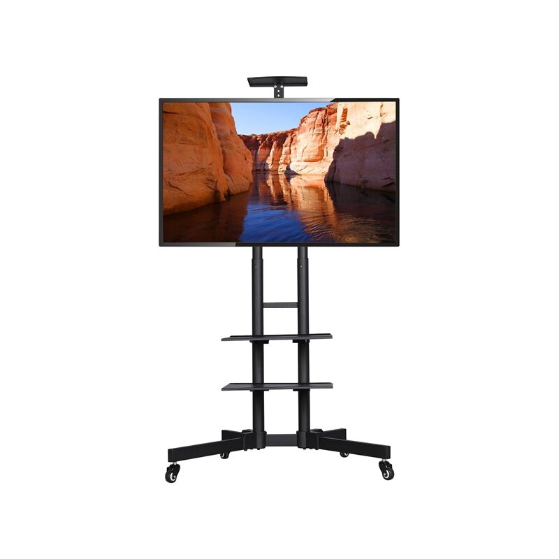 Yaheetech - Mobile TV Stand on Wheels with 3-Tier Tray, Portable TV Cart with VESA Bracket Mount for 32 to 65 inch Plasma/LCD/LED Home Display TV