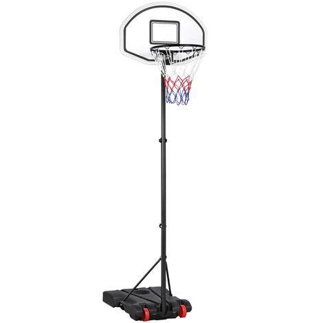Yaheetech Panier de Basket-Ball sur Pied Hauteur Réglable 159 - 214 cm 5 Niveaux avec Support et Roulettes