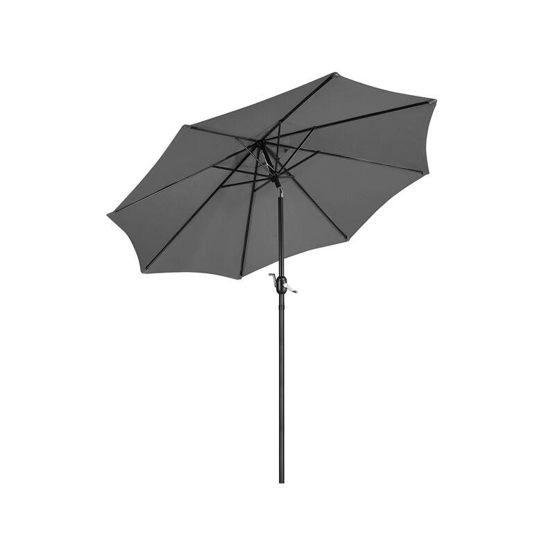 Yaheetech Parasol de Jardin avec Mécanisme et Inclinaison Mât de 38 mm Extérieur pour Patio Piscine Plage Gris