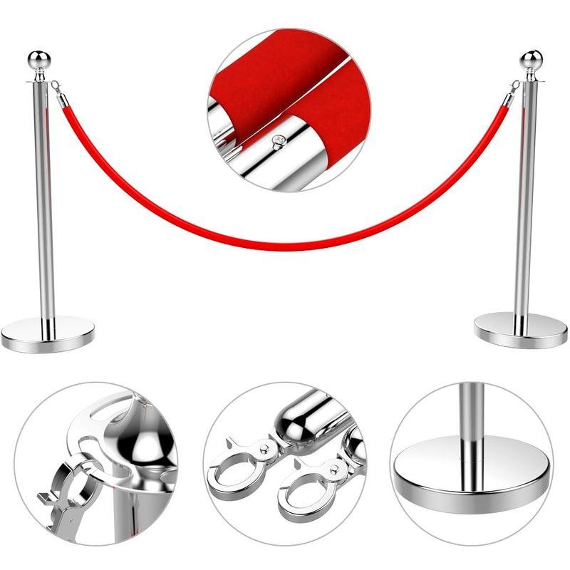 Yaheetech 6 Poteaux de Guidage avec 6 Corde 2M R/étractable Barri/ère de Guidage Syst/ème de Balisage pour Personnes Lourd de Base pour la Stabilit/é