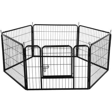 Yaheetech Recinto per Cani Cuccioli Conigli Gatti Animali da Interno e Esterno Giardino Rete Recinzione Ferro 6 pz 60 x 80 cm