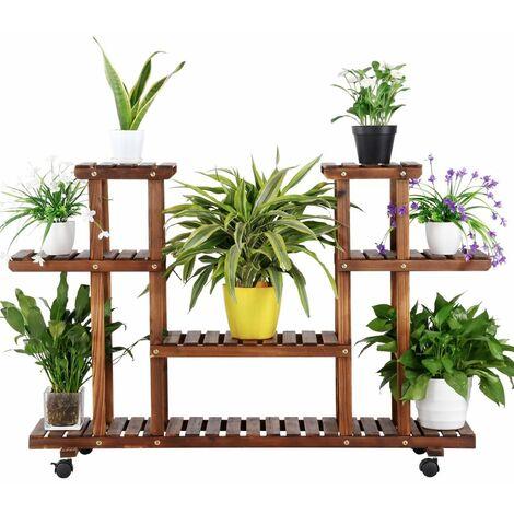 Yaheetech Soporte de Jardín Estantería Madera de 4 Niveles Estante de Plantas Flores Soporte Bastidor para Jardín Balcón Decorativas Estética