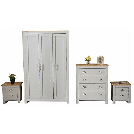 YAKOE 4-Piece Country Style Ledbury Bedroom Furniture in White