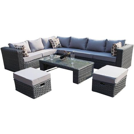 Yakoe Conservatory MODULAR 8 Seater Rattan Corner Grey Sofa Set Garden Furniture