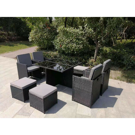 YAKOE ETON RATTAN GARDEN 8 SEATER CUBE SET IN BLACK