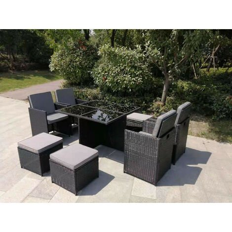 YAKOE ETON RATTAN GARDEN 8 SEATER CUBE SET IN BLACK WITH FITTING COVER