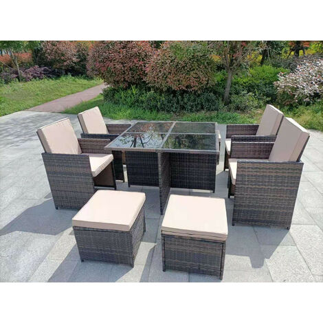 YAKOE ETON RATTAN GARDEN 8 SEATER CUBE SET IN BROWN WITH FITTING COVER