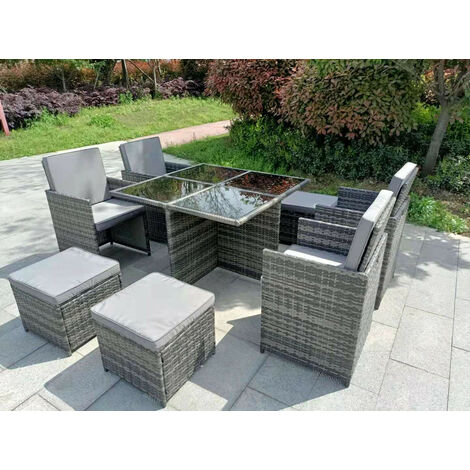 YAKOE ETON RATTAN GARDEN 8 SEATER CUBE SET IN GREY WITH FITTING COVER