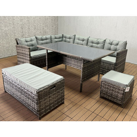 """main image of """"Yakoe ROSEN 10 SEATER RATTAN GARDEN DINING SET IN GREY with fitting cover"""""""