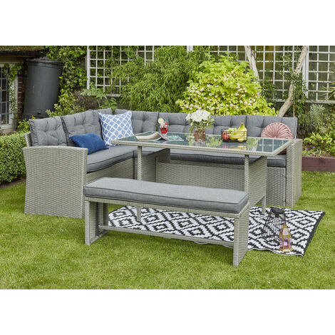 YAKOE Rosen Outdoors Rattan Corner Garden Furniture Sofa 8 Seater with Bench Dining Set Dark Grey with Fitting Cover