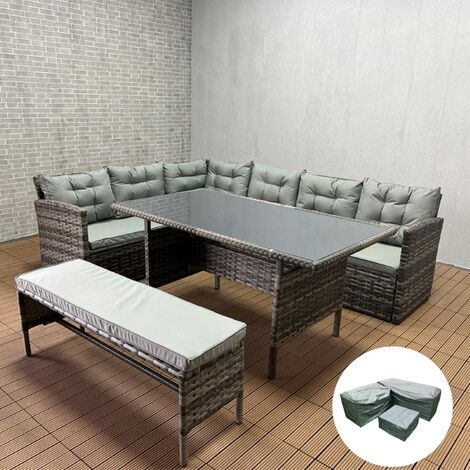 """main image of """"YAKOE Rosen Outdoors Rattan Corner Garden Furniture Sofa 8 Seater with Bench Dining Set Dark Grey with Fitting Cover"""""""