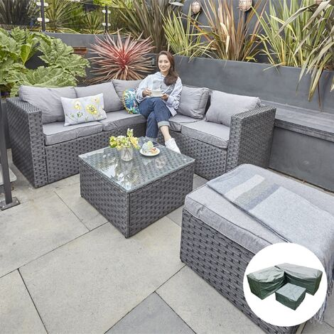 YAKOE VANCOUVER 6 SEATER MODULAR RATTAN SOFA SET IN BLACK WITH FITTING COVER