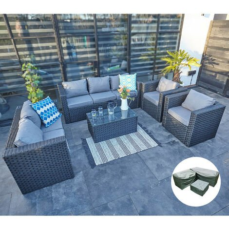 YAKOE VANCOUVER 7 SEATER RATTAN GARDEN SOFA SET IN BLACK WITH FITTING COVER