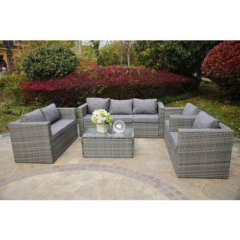 YAKOE VANCOUVER 7 SEATER RATTAN GARDEN SOFA SET IN GREY WITH FITTING COVER