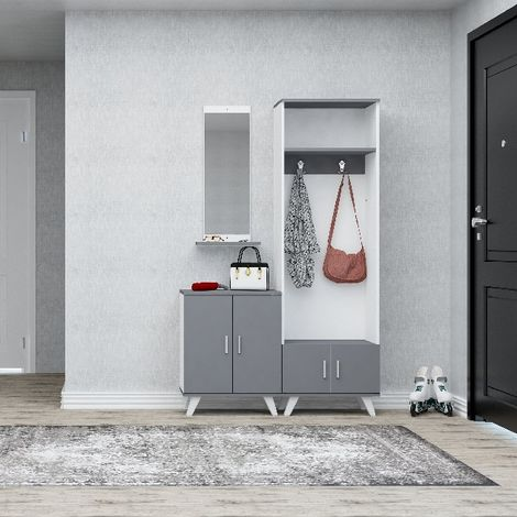 Yakut Hall Unit - Coat Stand - with Doors, Shelves, Hooks - Anthracite, White made of Wood, Plastic, Metal, 60 x 35 x 194 cm