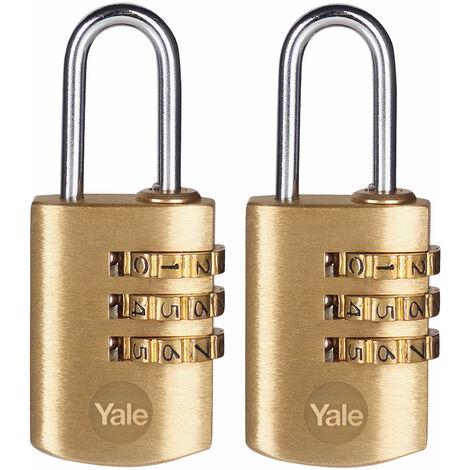 Yale Locks Brass Combination Padlock 22mm (Pack 2)